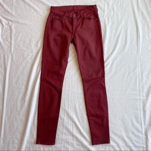 7 For All Mankind burgundy skinny jeans